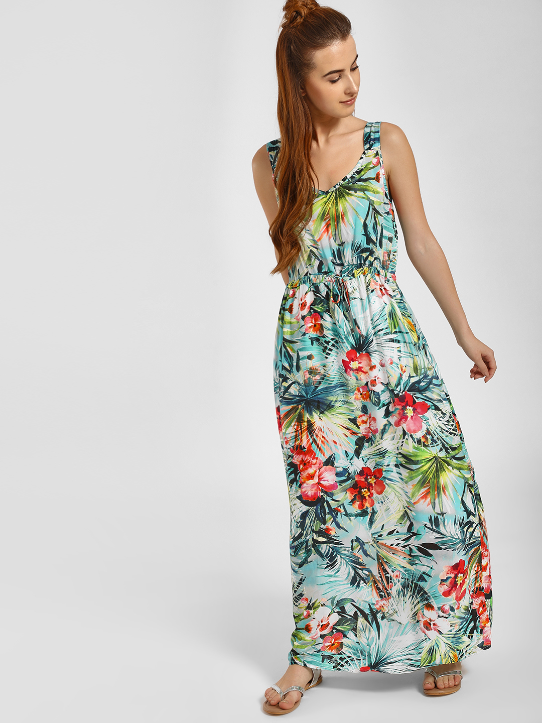 LC Waikiki Multi Tropical Floral Print Maxi Dress 1