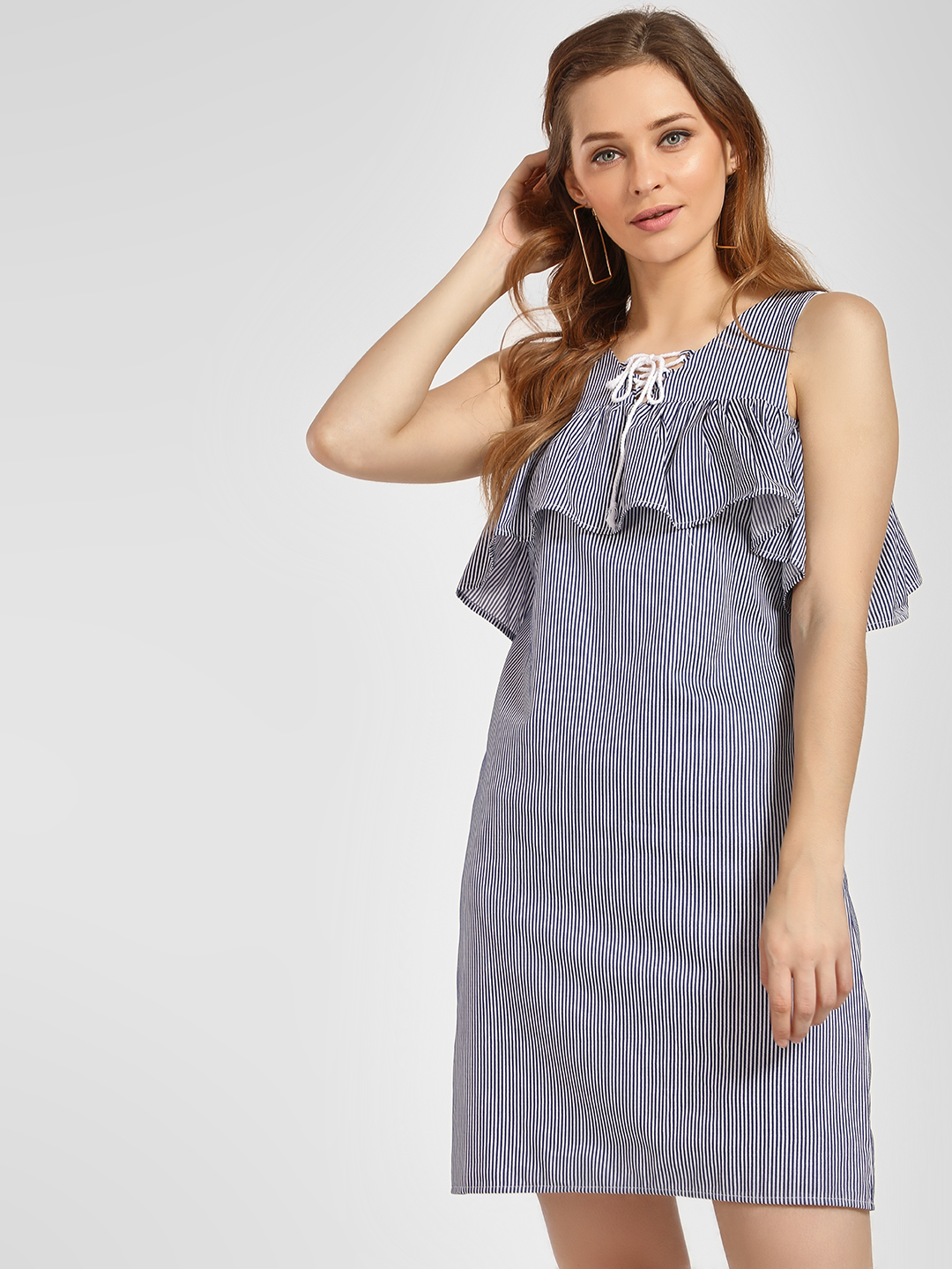 LC Waikiki Blue Vertical Stripes Frilled Yoke Shift Dress 1