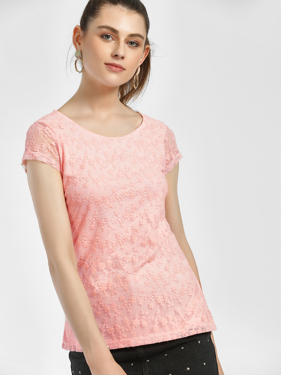 LC Waikiki Pink Floral Embroidered Mesh Top 1