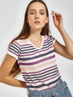 LC Waikiki Striped V-Neck T-Shirt