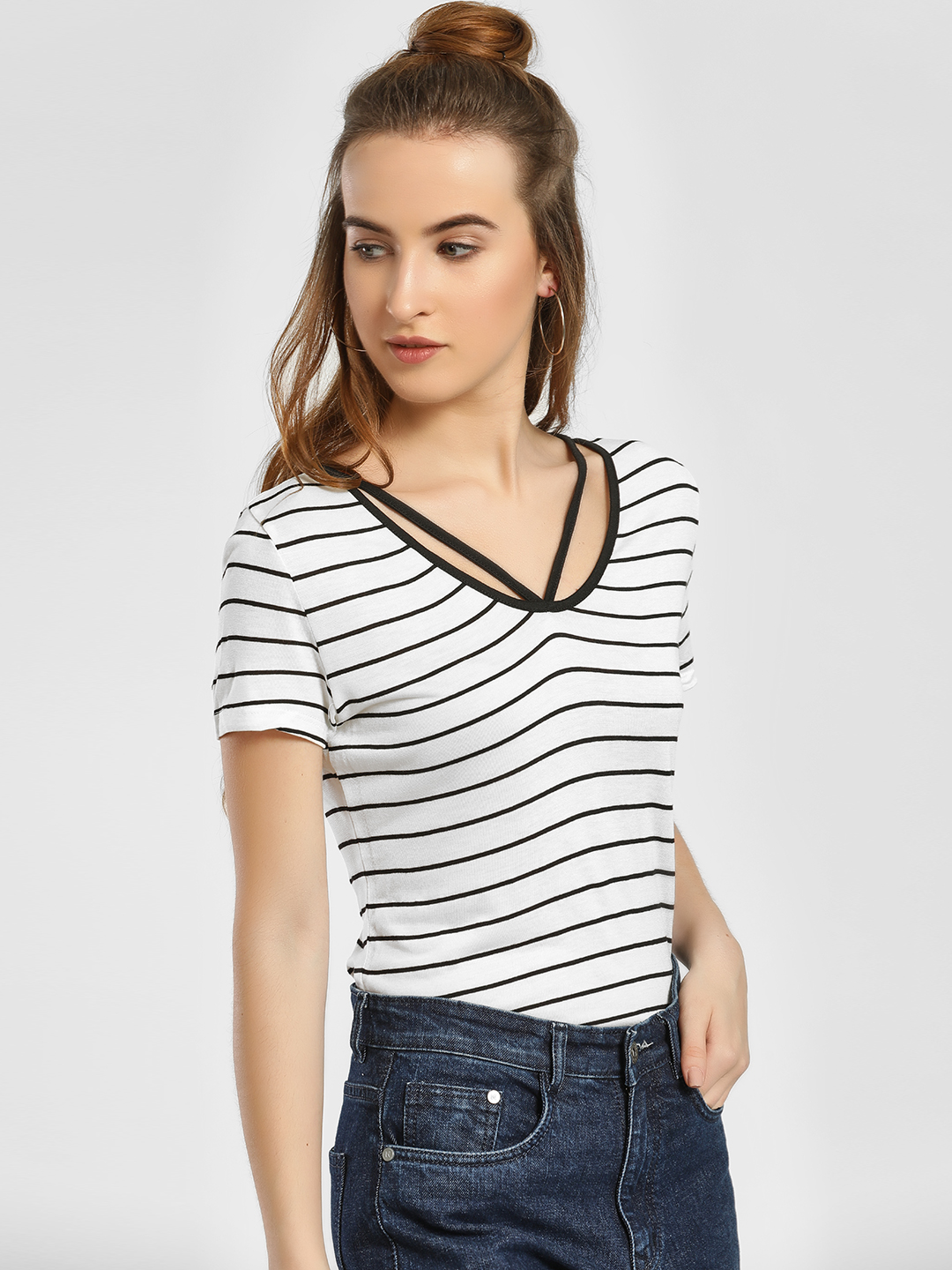 LC Waikiki White Stripe Cut-Out Neck T-Shirt 1