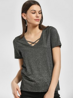 LC Waikiki Shimmer Cut-Out Neck Top
