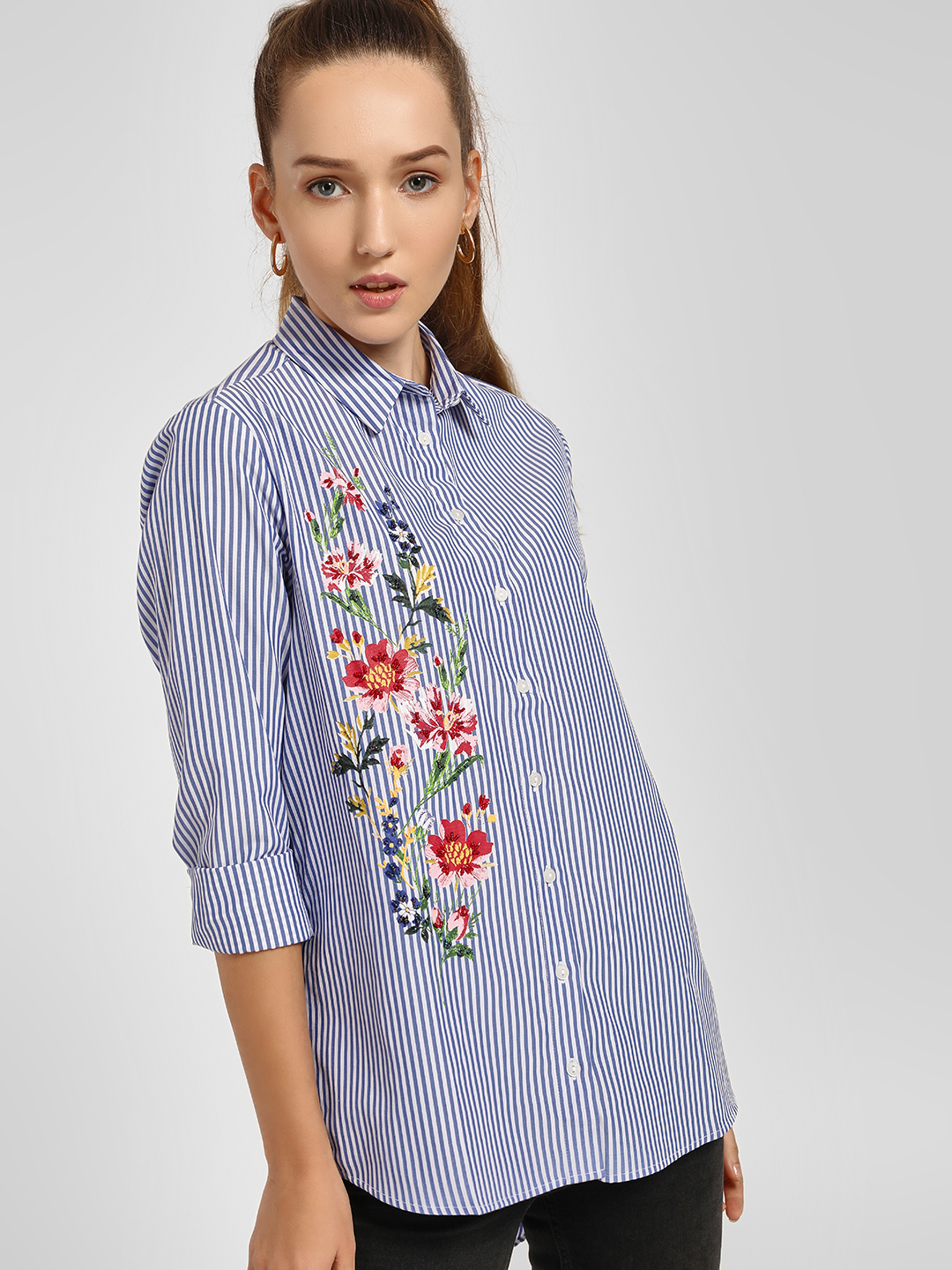 LC Waikiki Blue Bead Embroidered Floral Print Striped Shirt 1