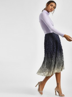 LC Waikiki Metallic Pleated & Lace Midi Skirt