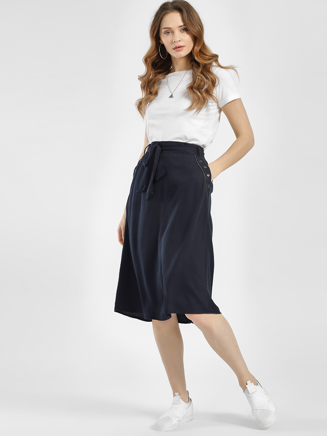 LC Waikiki Navy Pocket Studded Front Tie-Up Midi Skirt 1