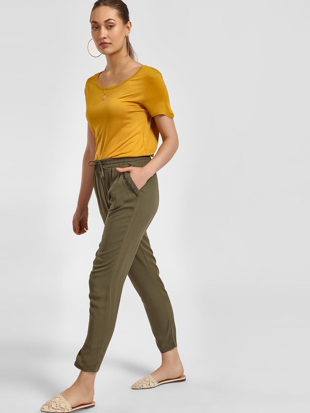 LC Waikiki Khaki Tassel Pocket Drawcord Trousers 1