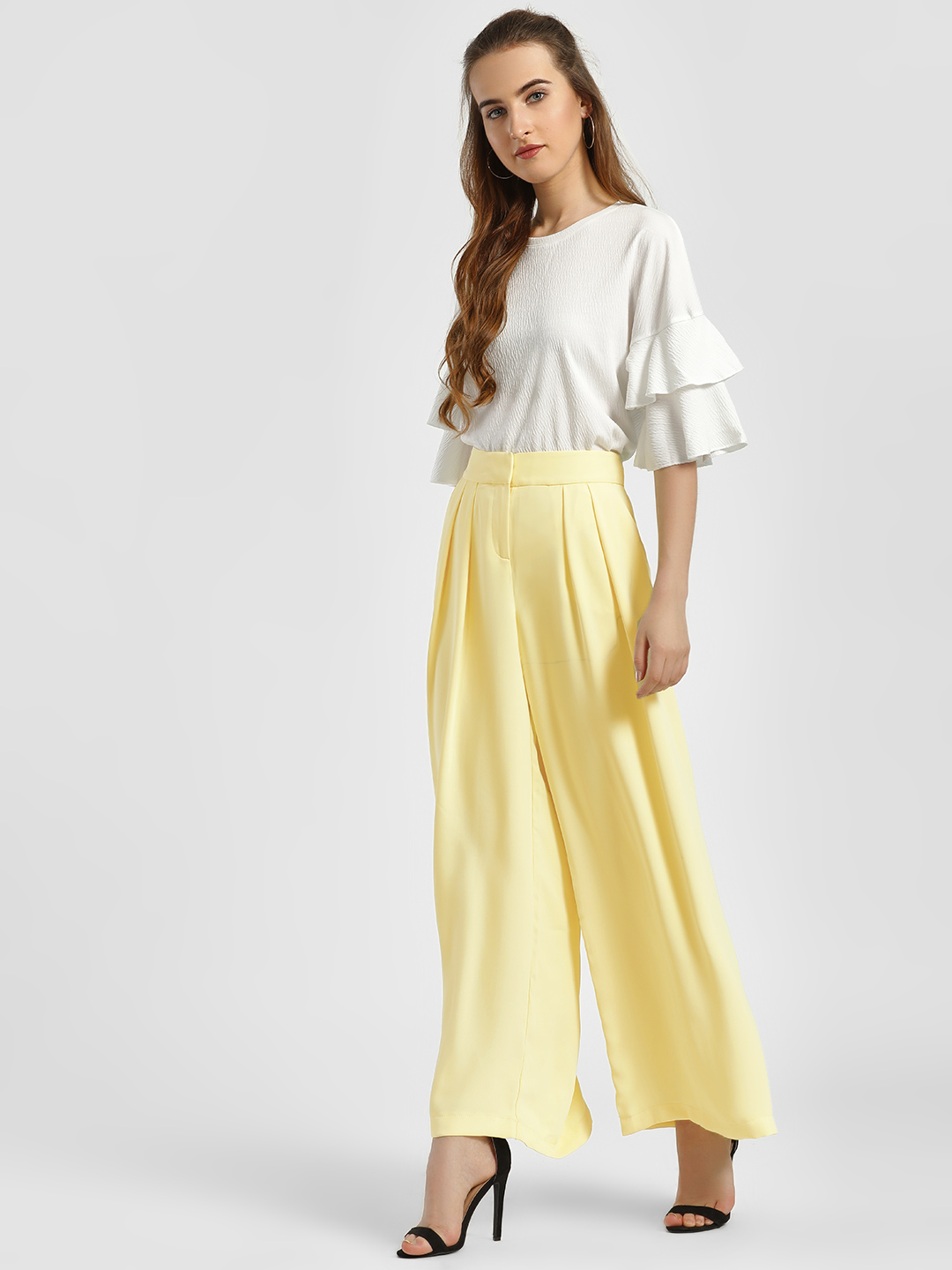 LC Waikiki Yellow Basic Wide Leg Palazzo Pants 1