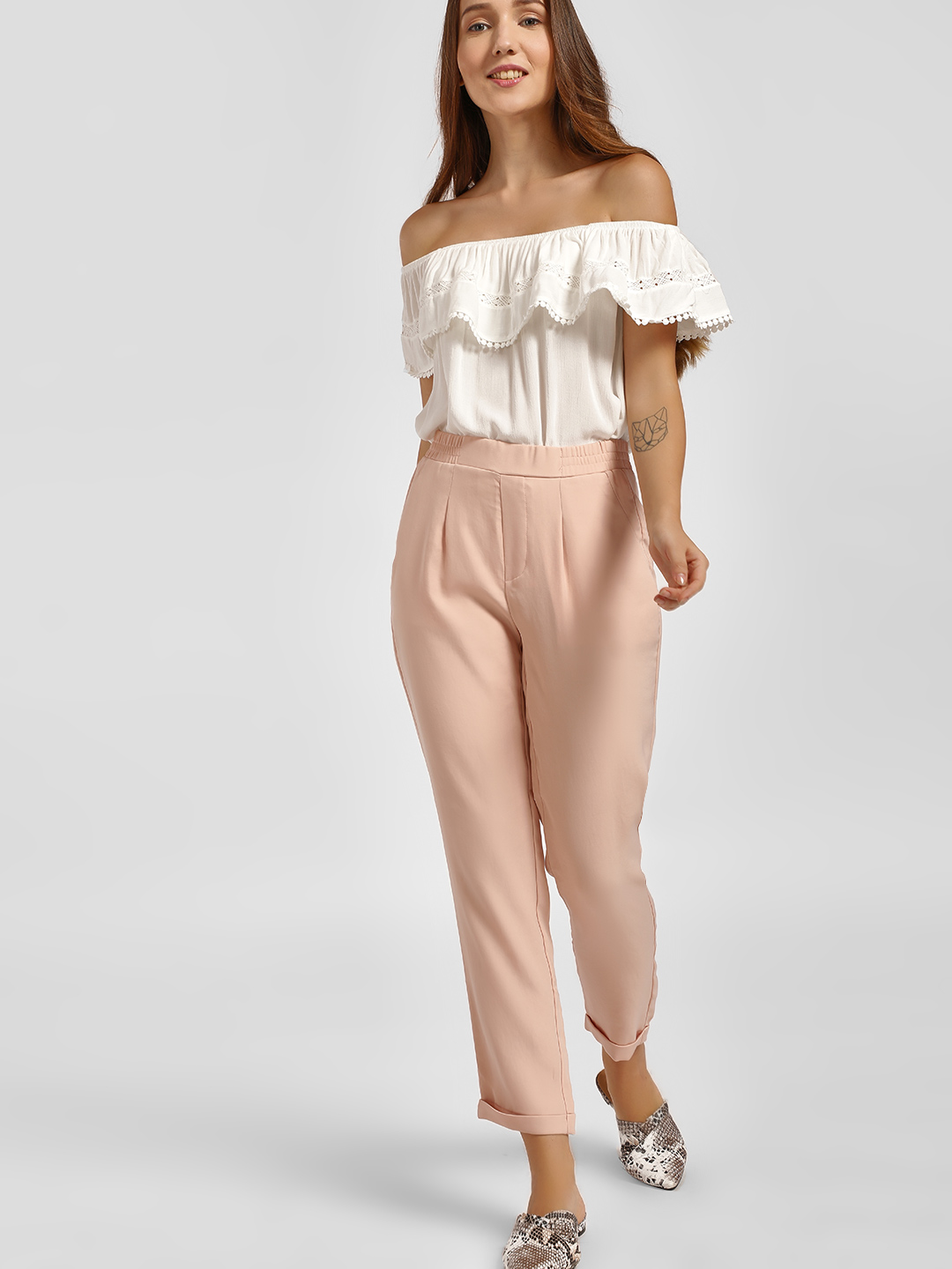 LC Waikiki Pink Elasticated Waist Pleated Cropped Trousers 1