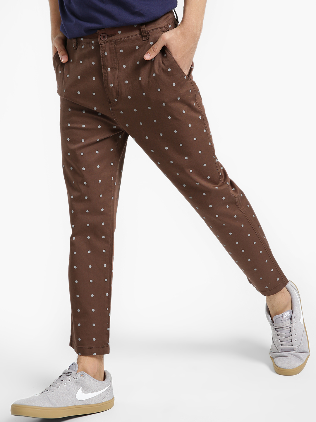 Spring Break Brown Polka Print Cropped Slim Trousers 1