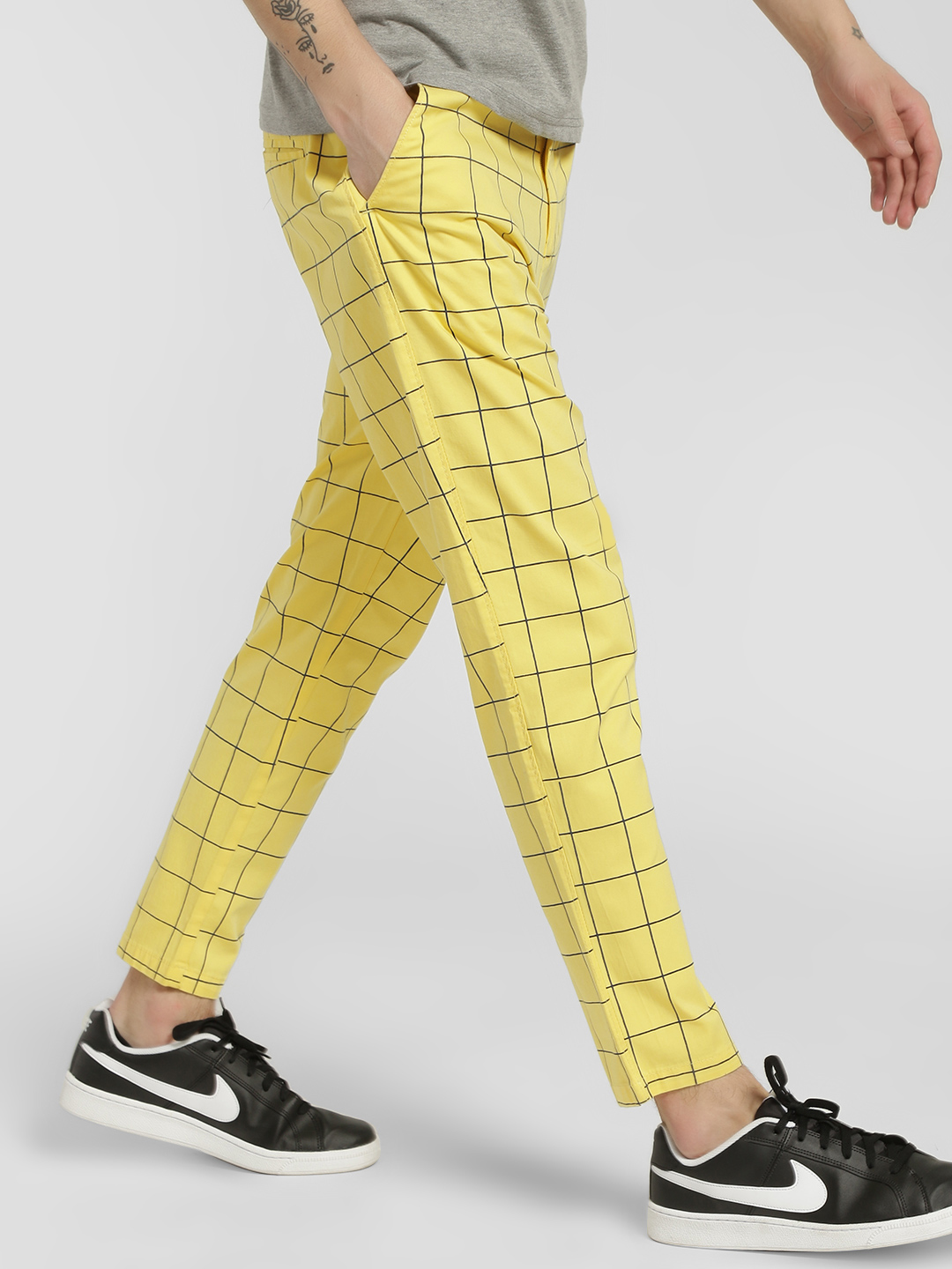 Spring Break Yellow Windowpane Check Drop Crotch Trousers 1