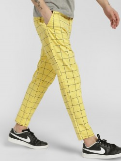 Spring Break Windowpane Check Drop Crotch Trousers