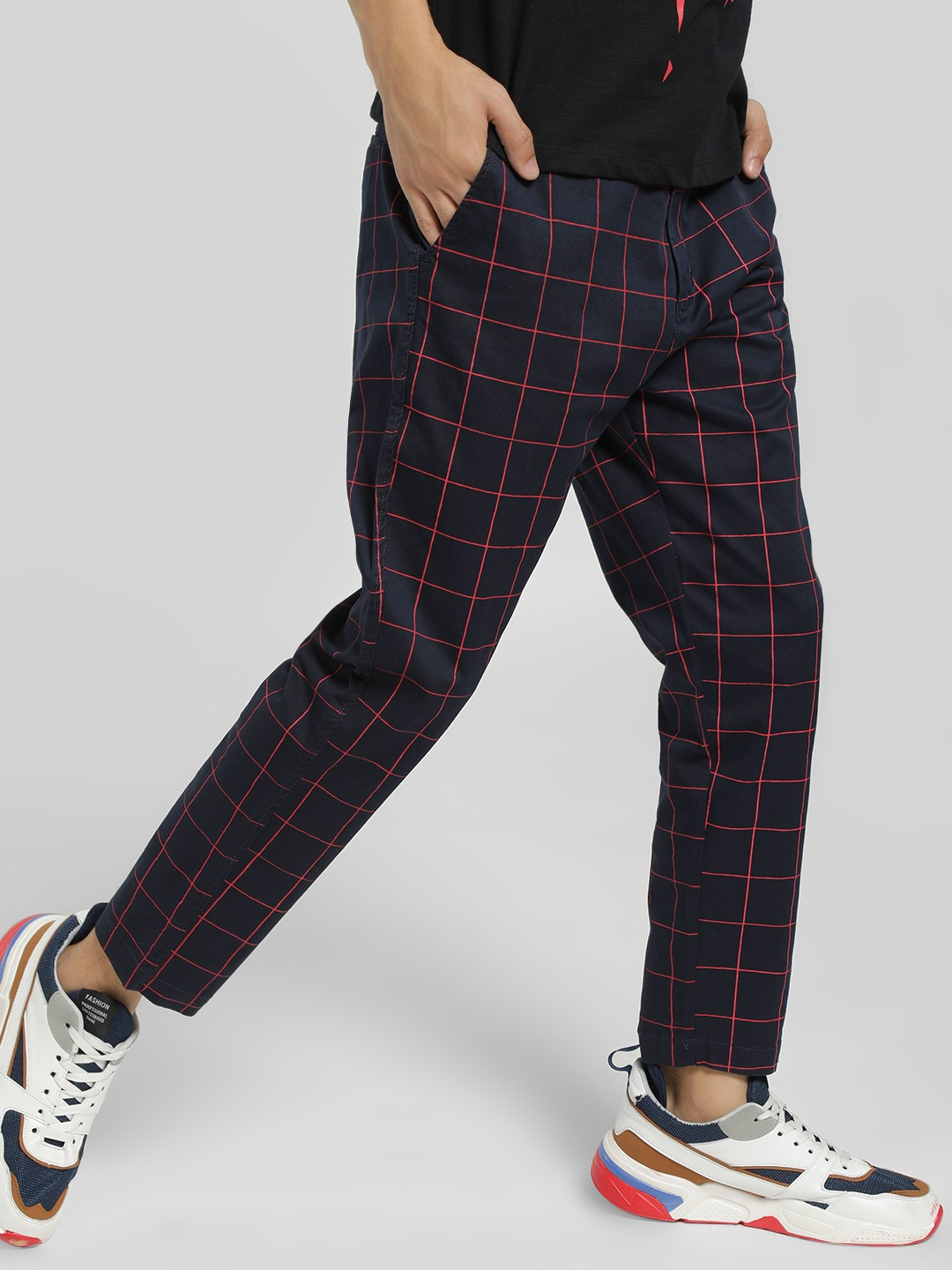 Spring Break Navy Windowpane Check Cropped Slim Trousers 1
