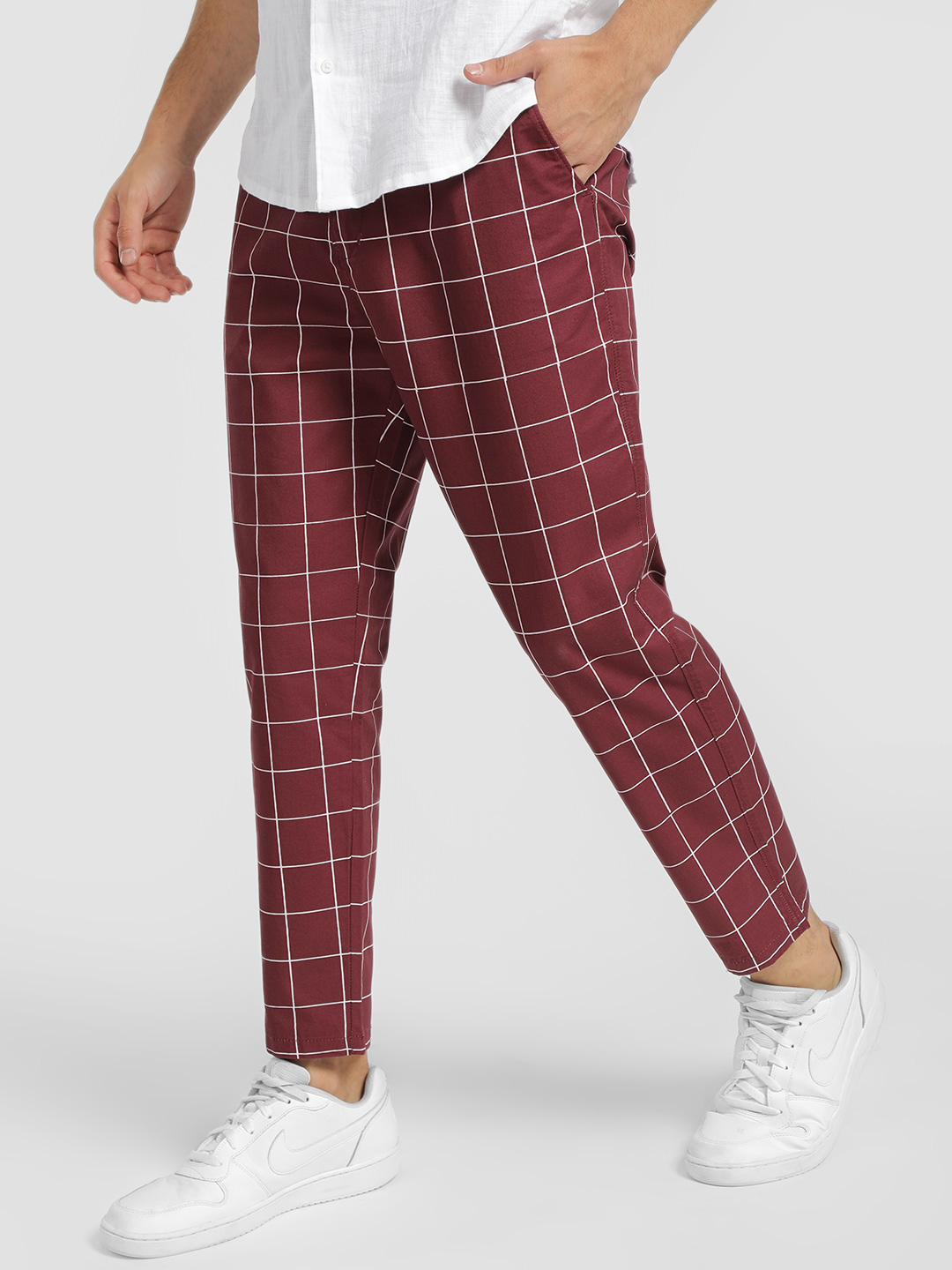 Spring Break Maroon Windowpane Check Cropped Slim Trousers 1