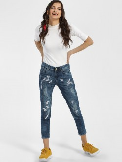 Blue Saint Bird Embroidered Distressed Skinny Jeans