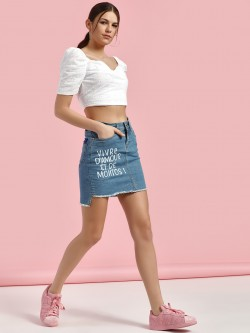 Blue Saint Slogan Print Frayed Hem Mini Skirt