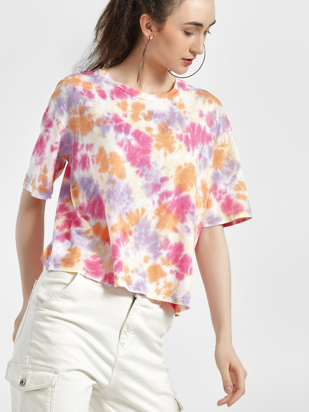 Sbuys Multi Tie & Dye Crop T-Shirt 1