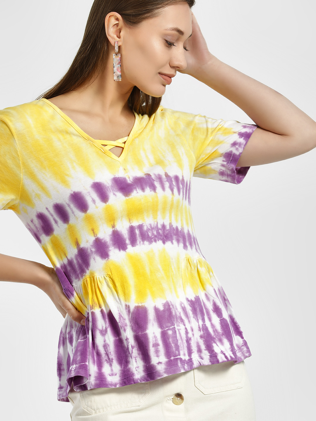 Sbuys Multi Tie & Dye Peplum T-Shirt 1