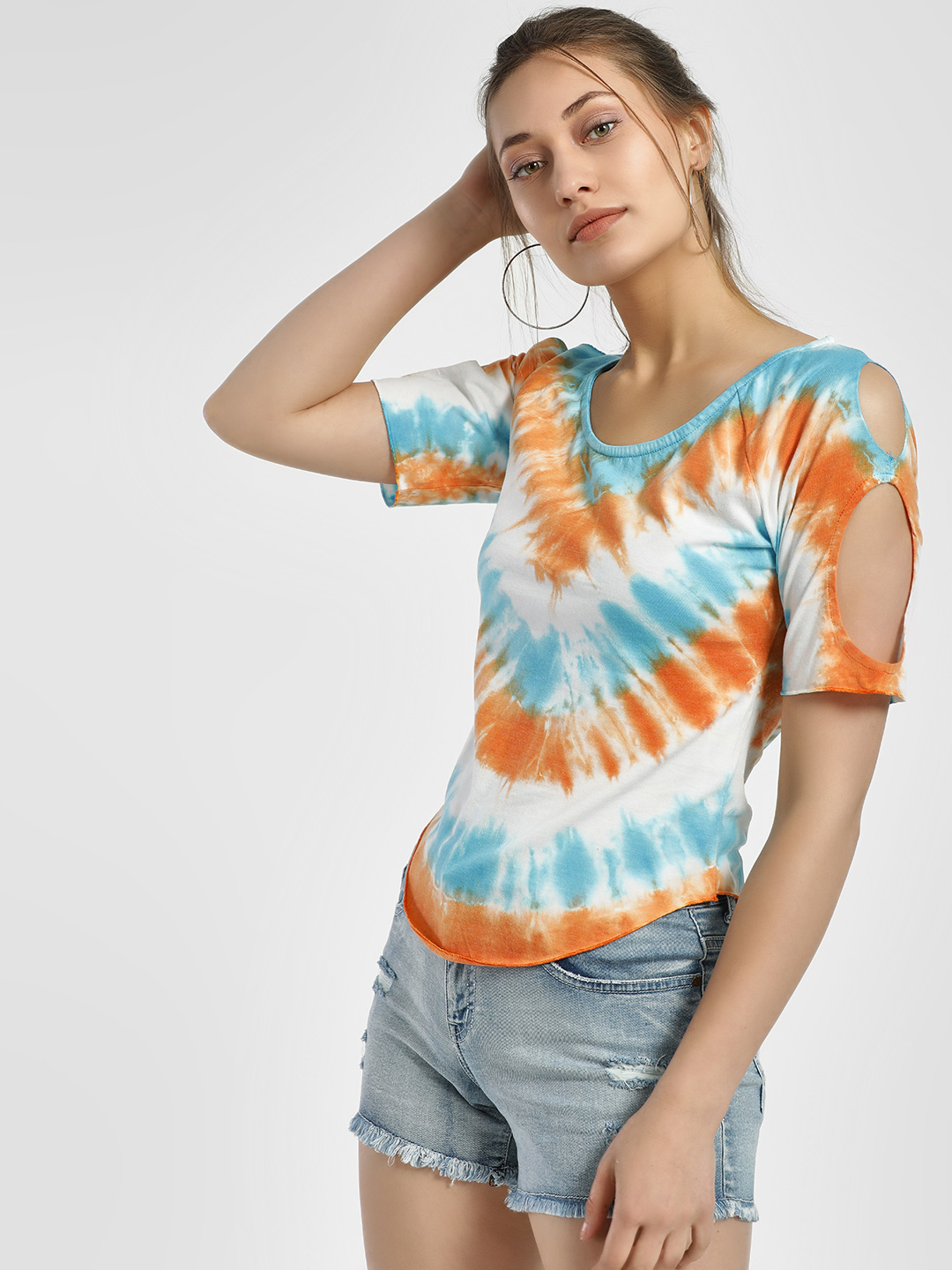 Sbuys Multi Scoop Neck Tie & Dye T-Shirt 1