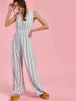 Sbuys Multi Stripe Smocked Front Jumpsuit