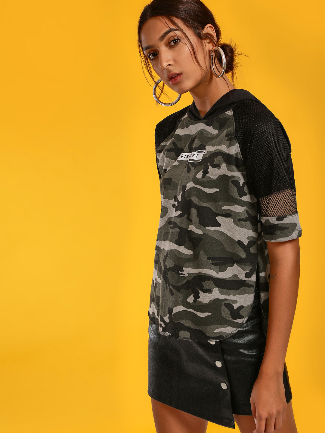 Disrupt Multi Mesh Camo Text Print Hoodie 1