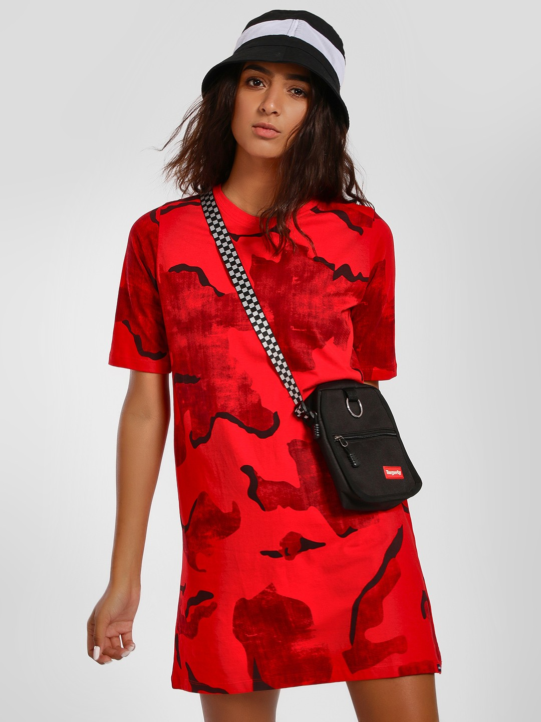 Disrupt Red Camo Print T-Shirt Dress 1