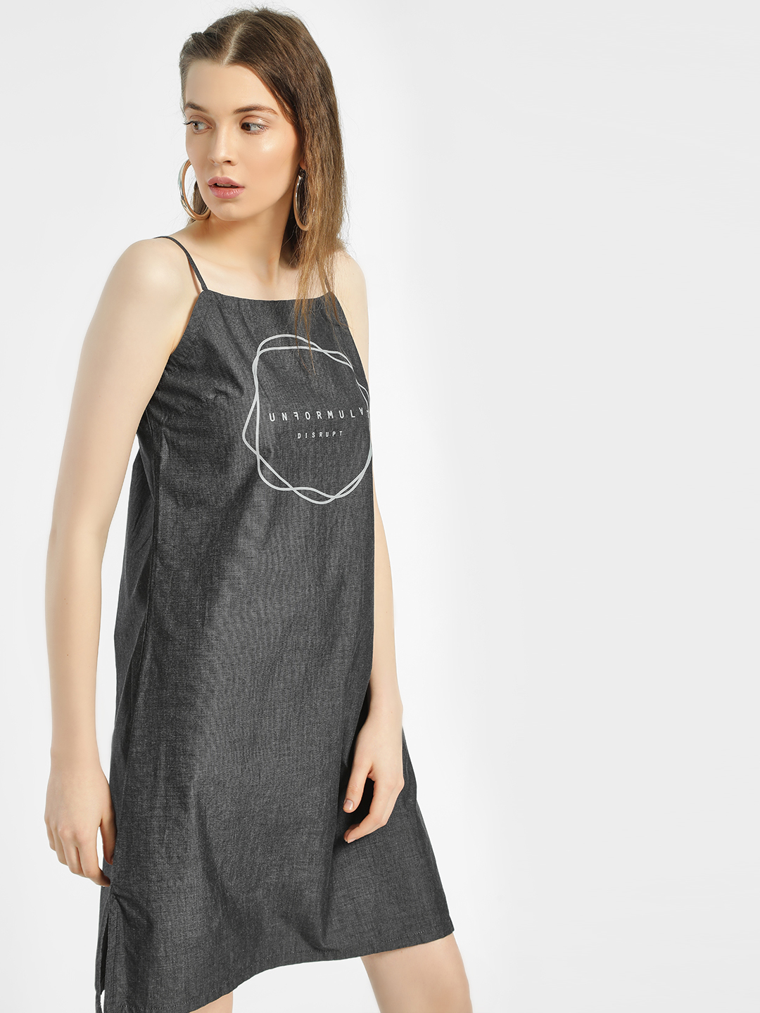 Disrupt Grey Unformulated Text Print Shift Dress 1