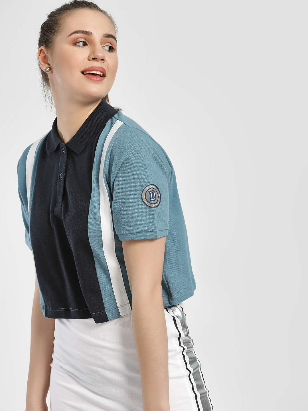Disrupt Blue Colour Block Crop Polo T-Shirt 1