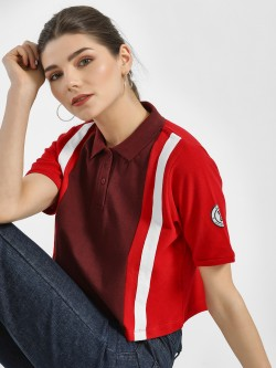 Disrupt Colour Block Crop Polo T-Shirt