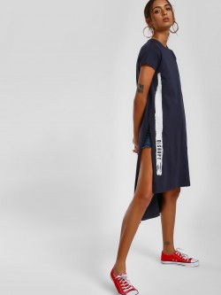 Disrupt Text Print High-Low Tunic Top