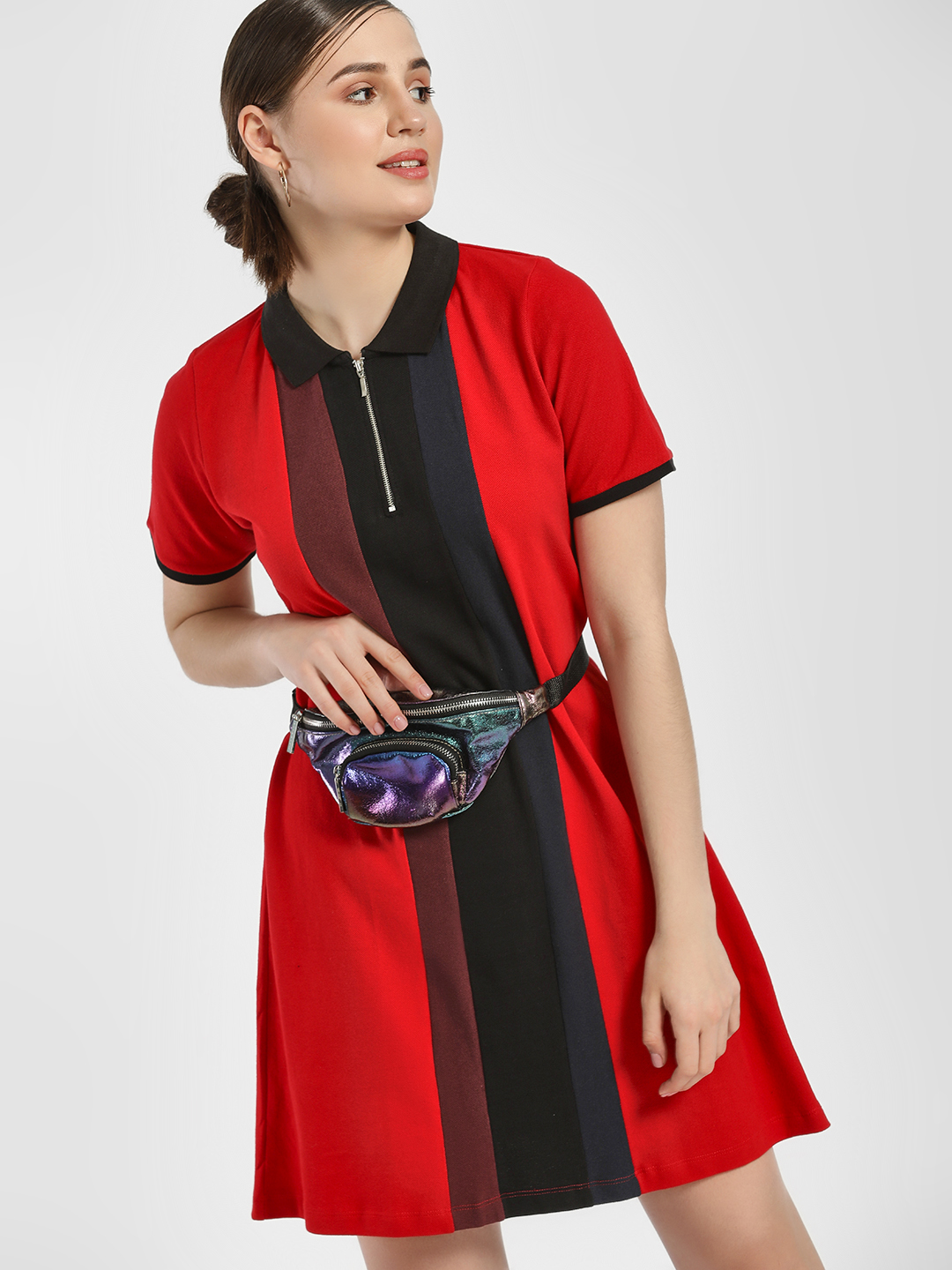 Disrupt Red Colour Block Polo T-Shirt Dress 1