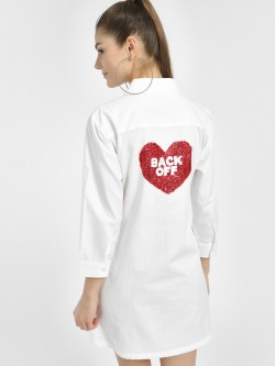 Spring Break Back-Off Heart Sequinned Shirt Dress