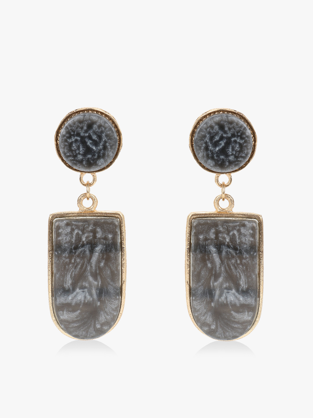Blueberry Black Marble Texture Earrings 1