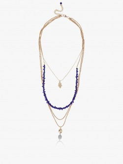 Blueberry Beaded Multi-Chain Pendant Layered Necklace