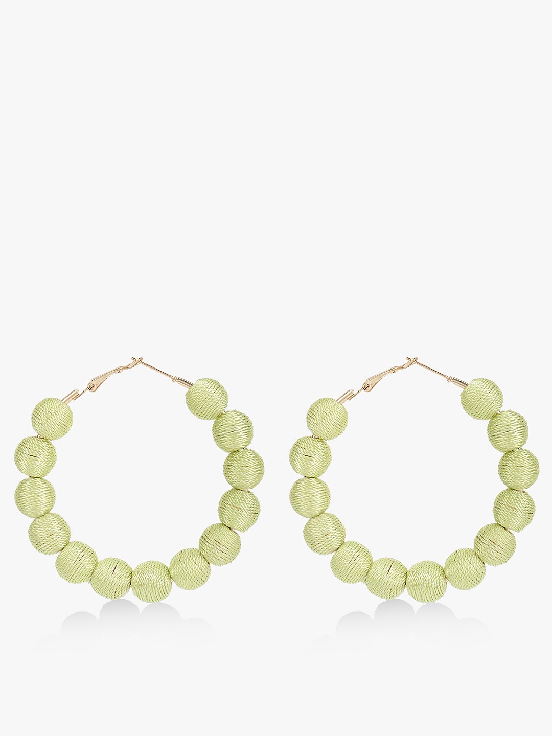 Blueberry Green Beaded Concentric Hoop Earrings 1