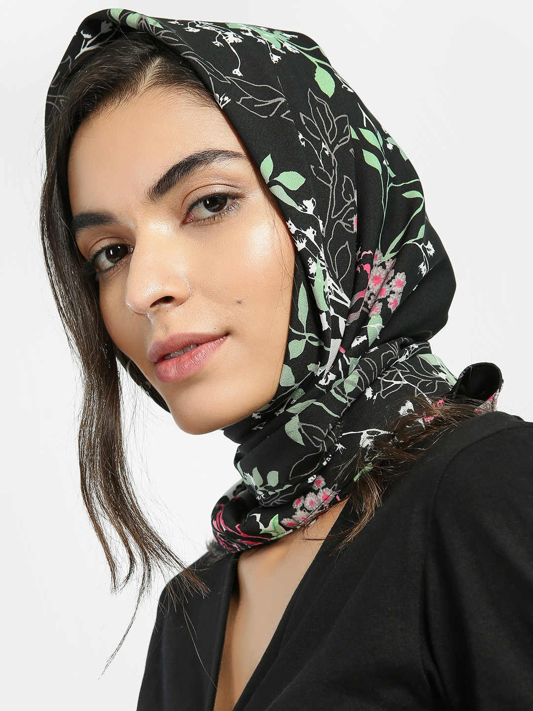 Blueberry Black Floral Print Head Scarf 1