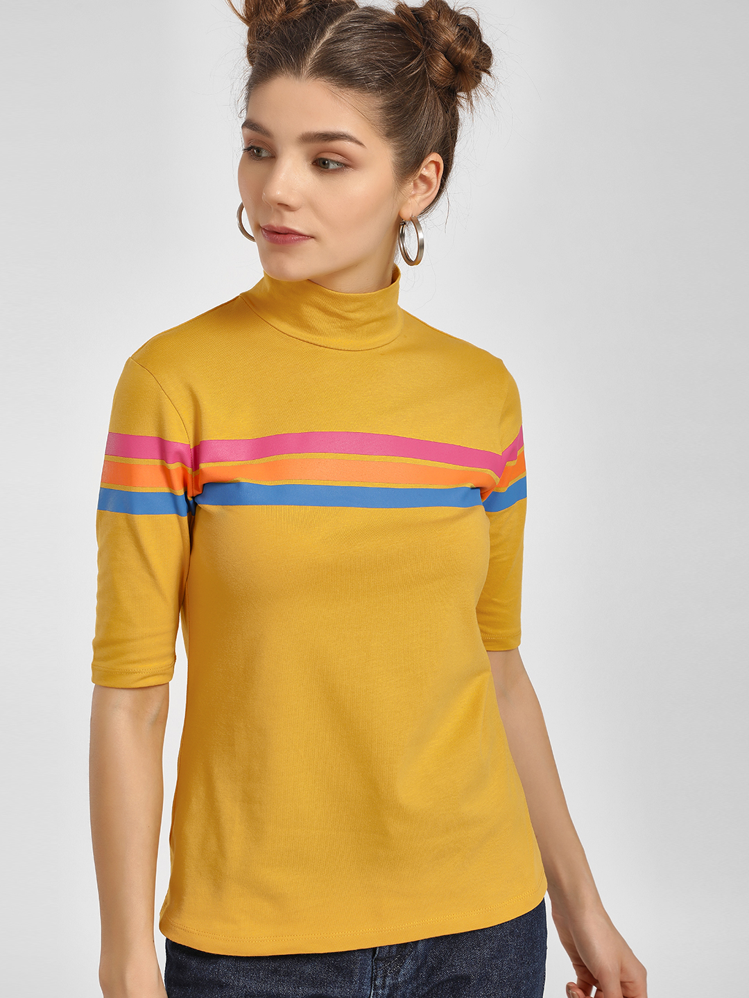 Beyond Clouds Yellow Stripe Cut-Out Back Turtleneck T-Shirt 1