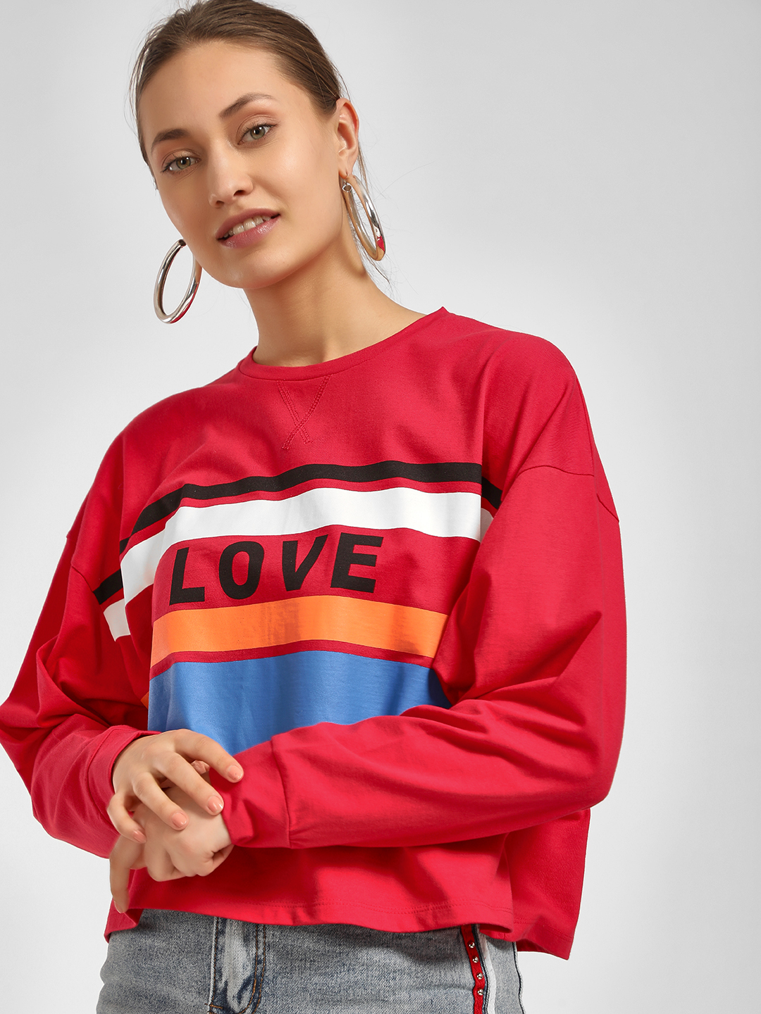 Beyond Clouds Red Love Stripe Print Oversized T-Shirt 1