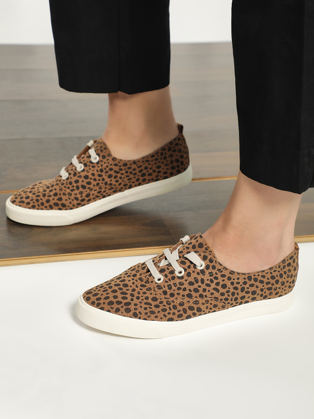 My Foot Couture Brown Suede Abstract Dot Print Sneakers 1