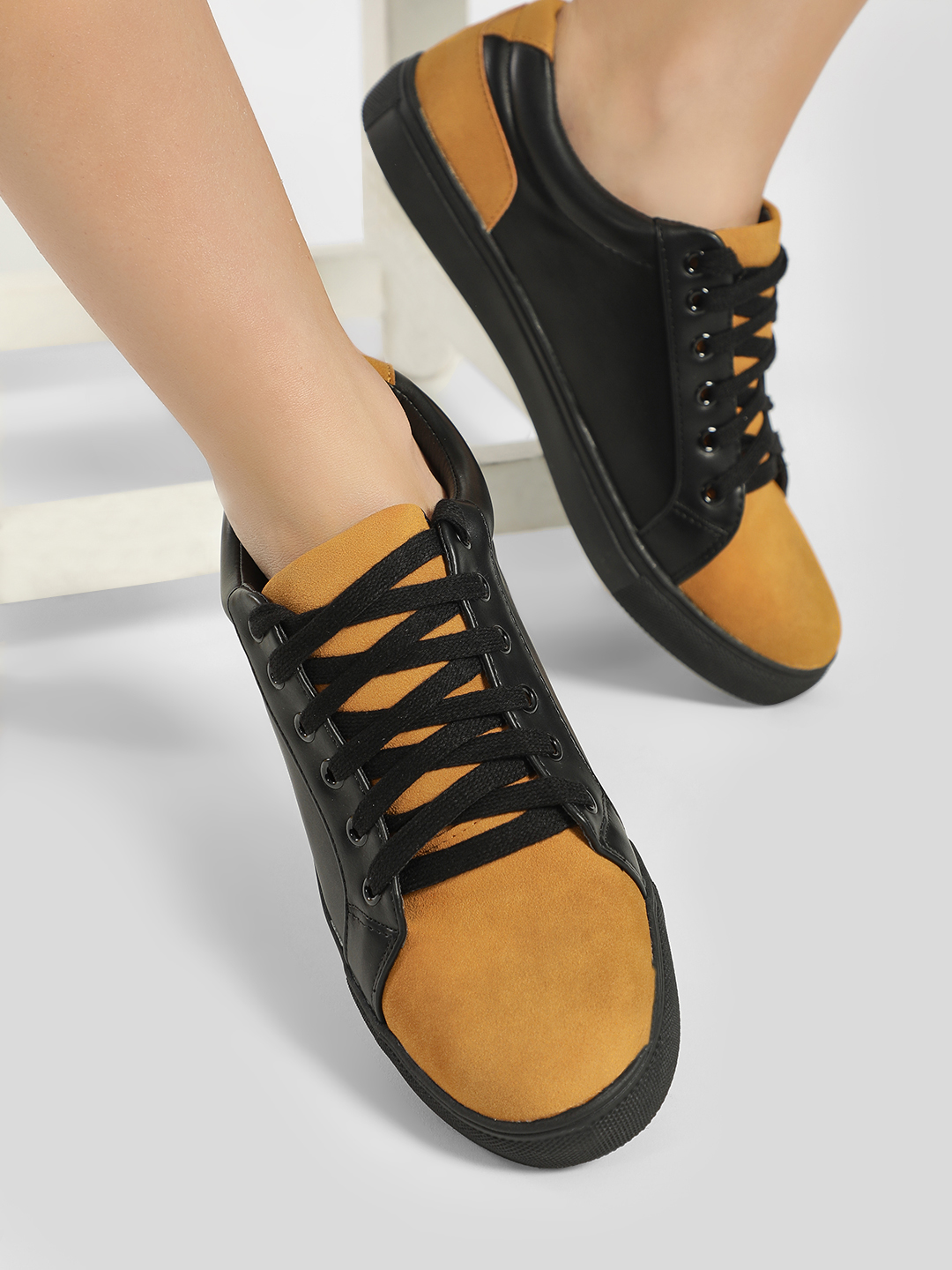 My Foot Couture Black Suede Colour Block Sneakers 1