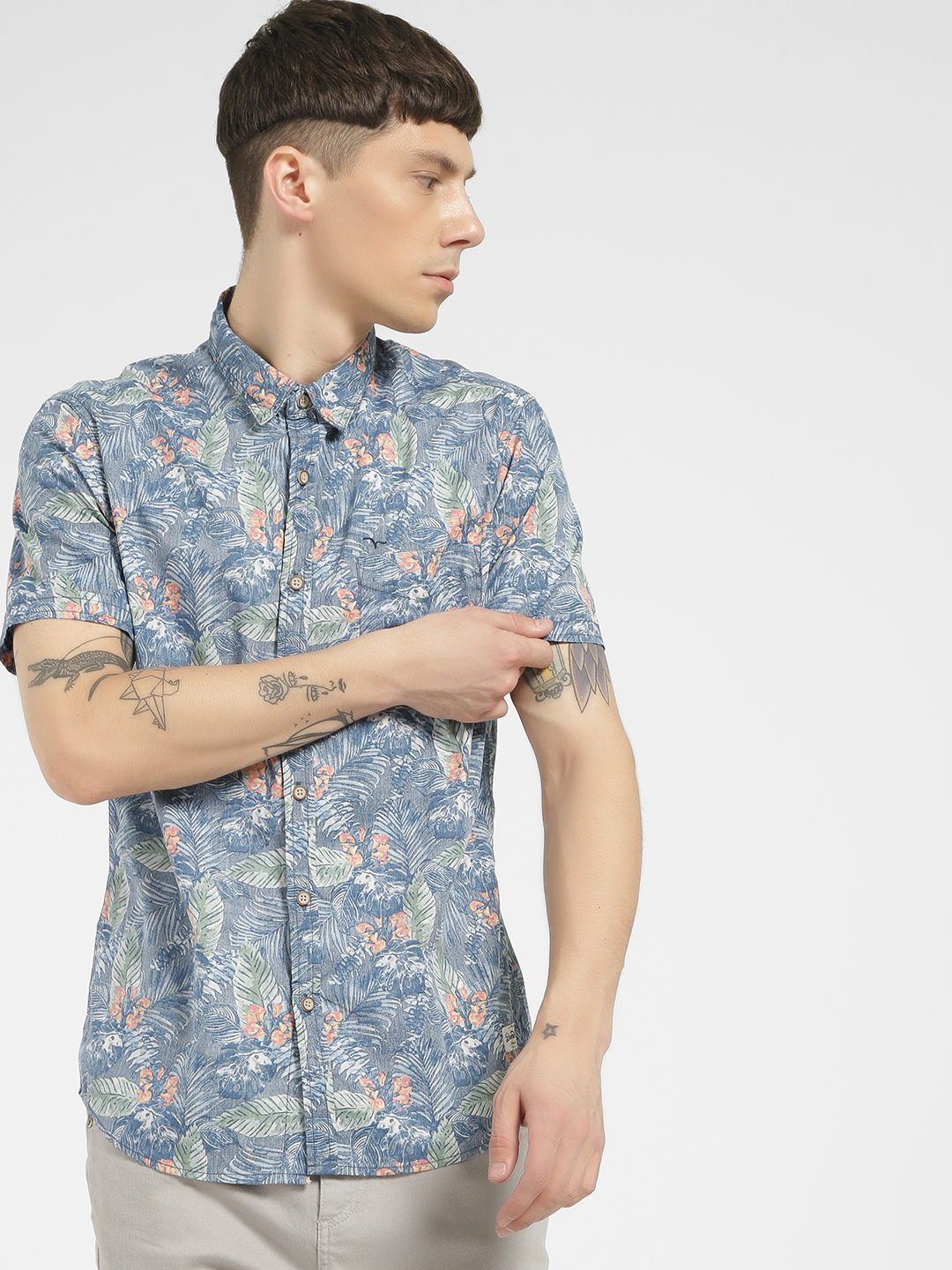 Flying Machine Blue Tropical Print Short Sleeve Shirt 1