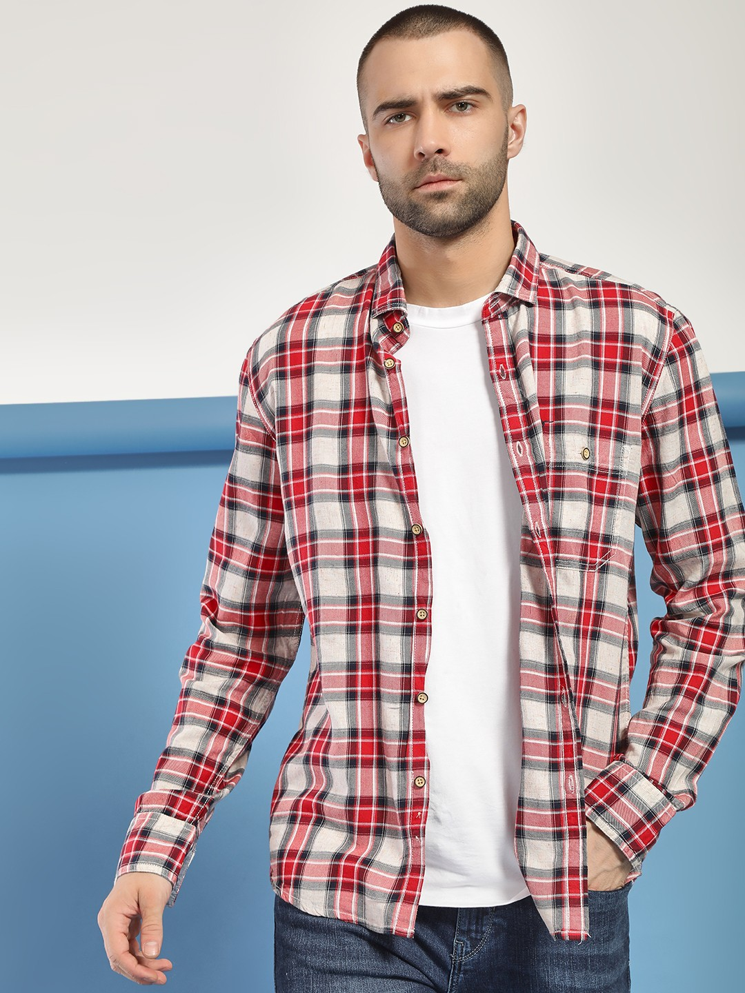 Flying Machine Red Multi Check Casual Shirt 1