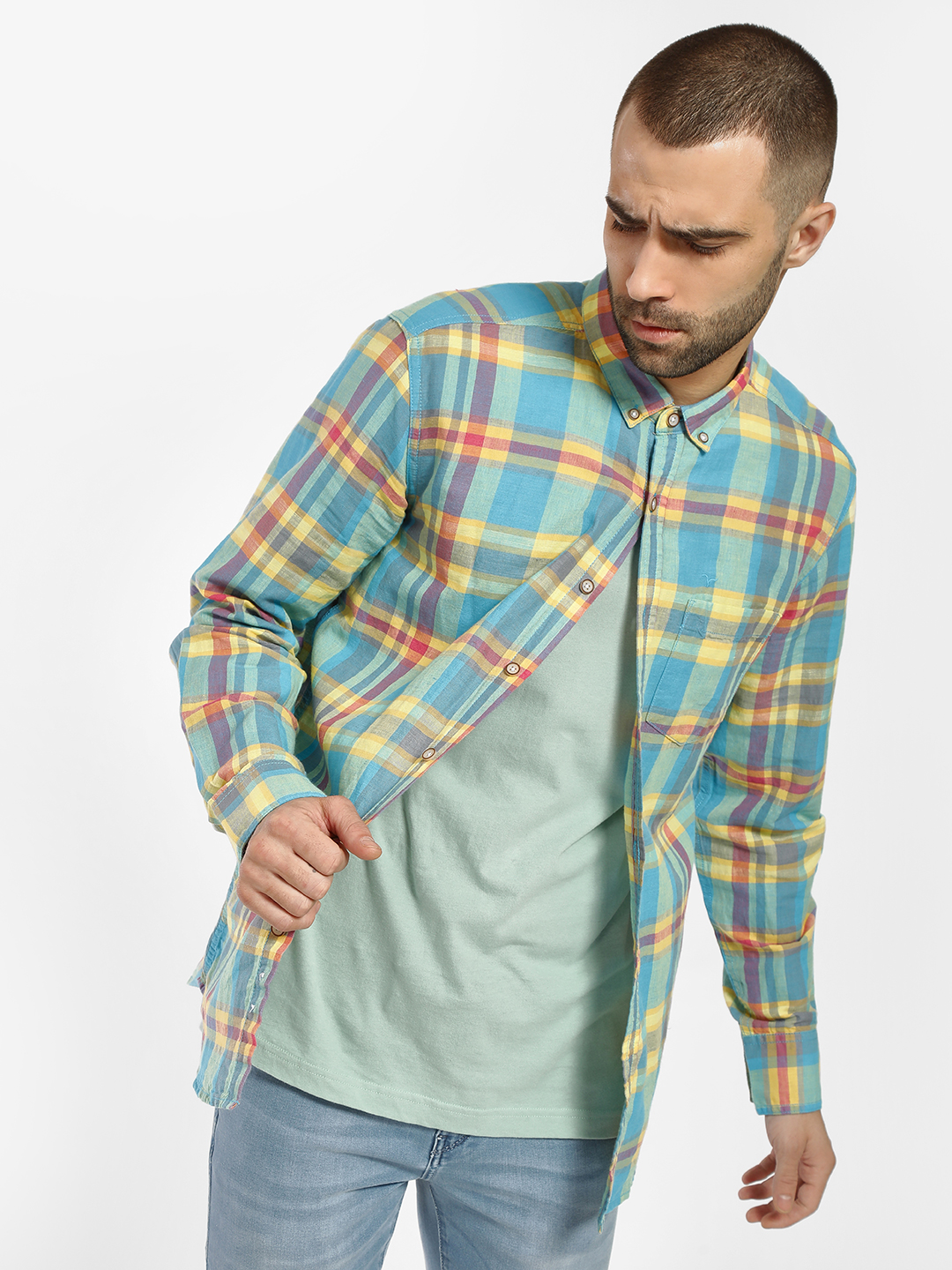 Flying Machine Blue Madras Check Casual Shirt 1
