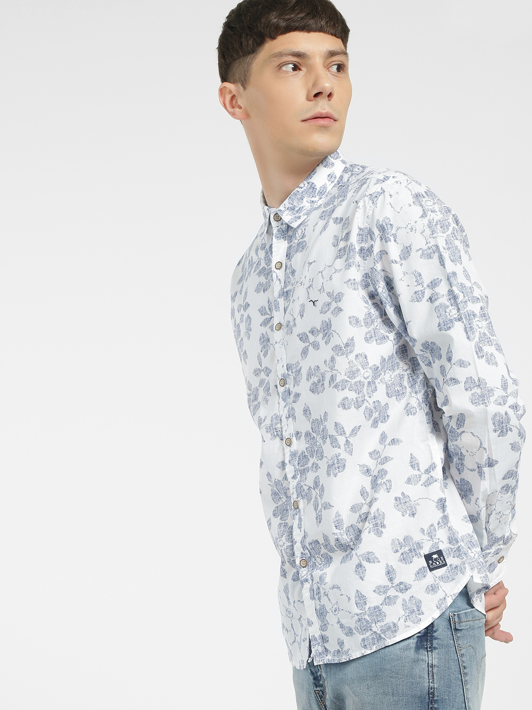 Flying Machine Off White Floral Print Casual Shirt 1