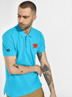 Flying Machine Pique Embroidered Patch Polo Shirt