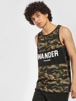 Flying Machine Cut & Sew Camo Slogan Print Vest