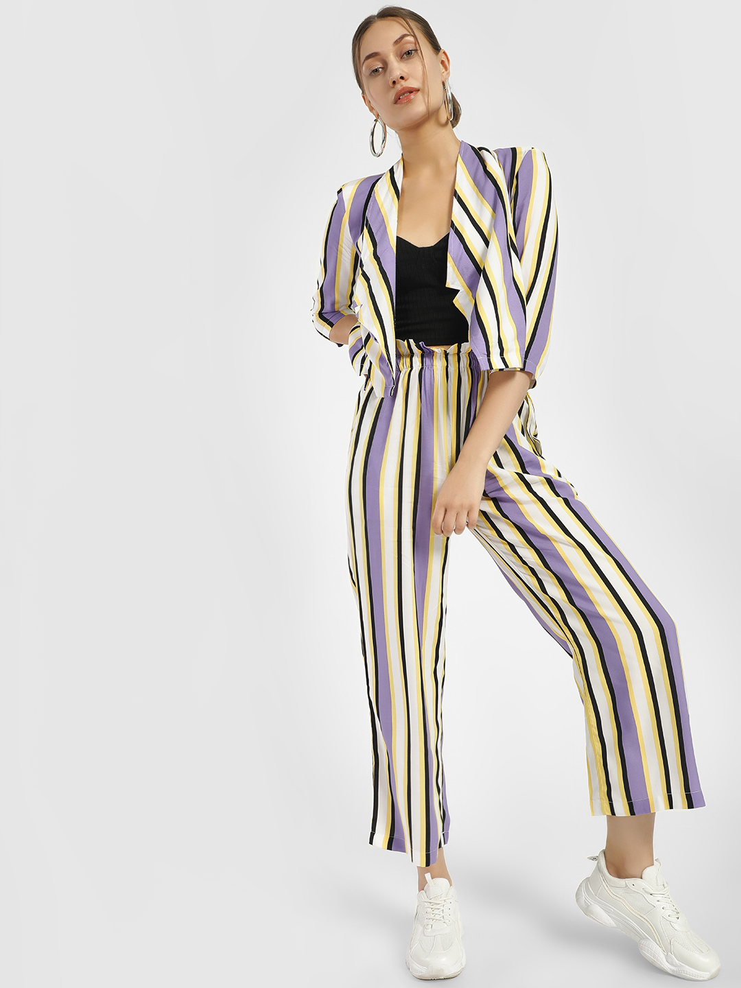 Closet Drama Multi Stripe Paperbag Waist Cropped Trousers 1
