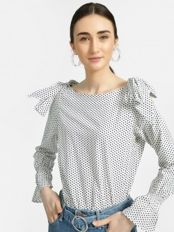 ISU Polka Dot Print Cold Shoulder Blouse