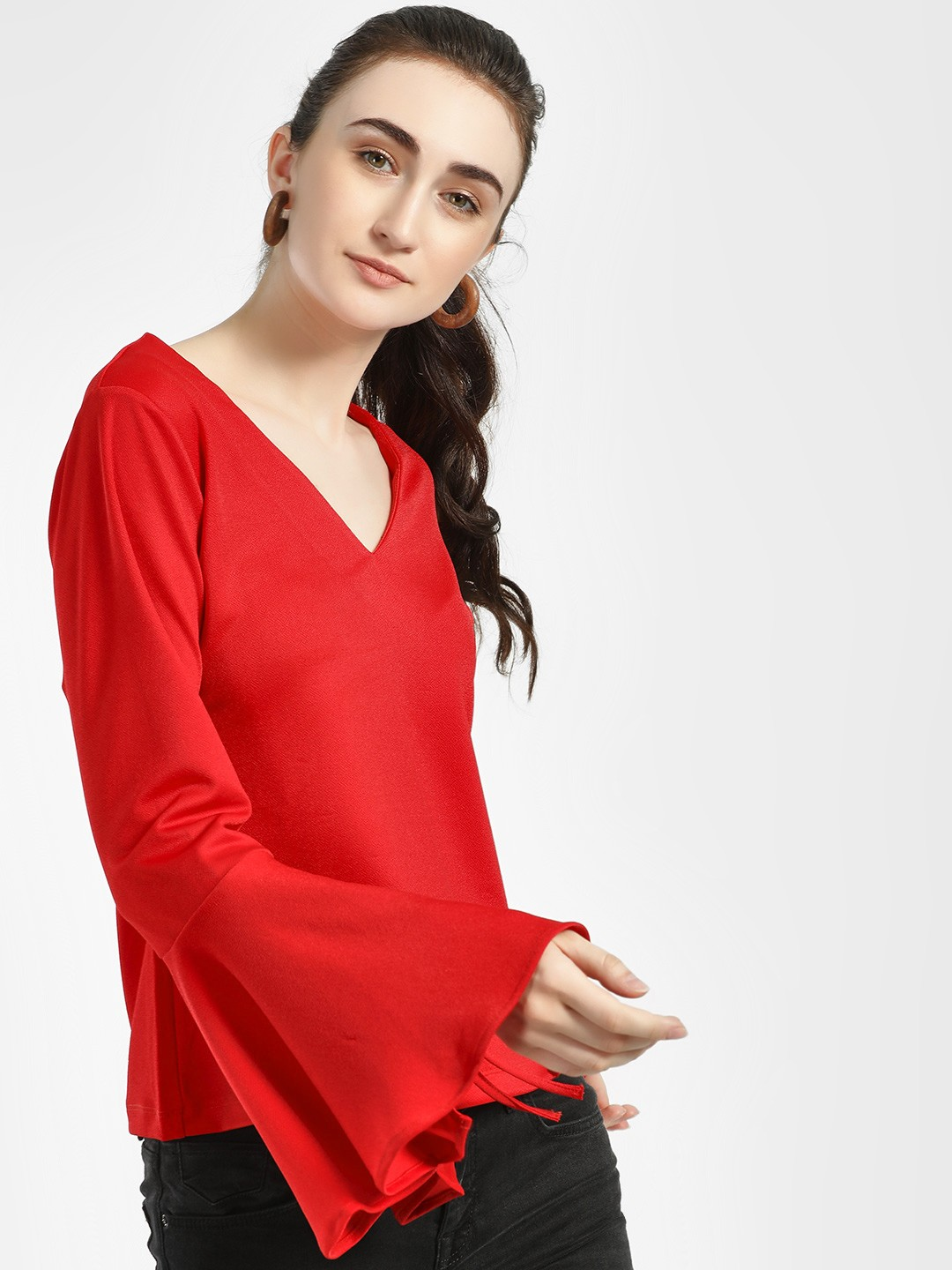 ISU Red Basic V-Neck Blouse 1