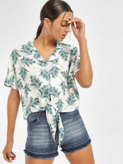 Only Tropical Print Tie-Knot Shirt