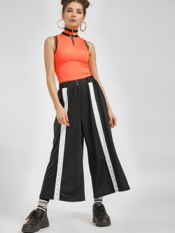 KOOVS Front Tape Flared Popper Pants